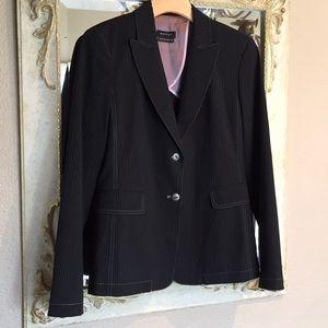 """Womyn"" black pinstripe blazer. Size 4"